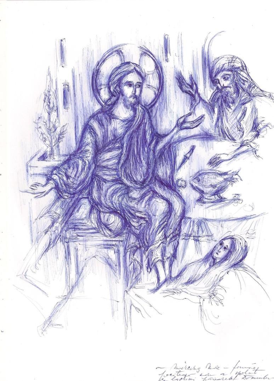 Femeia pacatoasa care spala cu lacrimi si unge cu mir picioarele Domnului